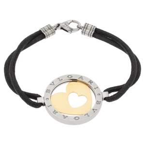 Bvlgari Tondo Heart 18K Yellow Gold & Stainless Steel Cord Bracelet