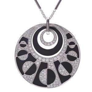 Bvlgari Intarsio Black Onyx And Diamonds 18K White Gold Pendant Necklace