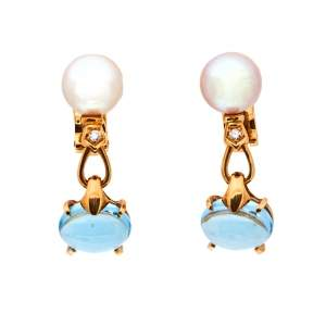 Bvlgari Allegra Cultured Pearl Diamond Blue Topaz 18k Yellow Gold Clip On Drop Earrings