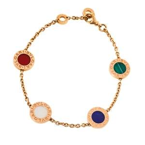 Bvlgari Multi Gemstone Inlay 18K Rose Gold Station Bracelet SM