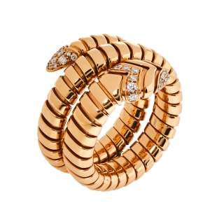 Bvlgari Serpenti Tubogas Diamond 18K Rose Gold Double Spiral Ring Size 57