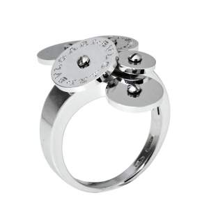 Bvlgari Cicladi Cluster Disc 18K White Gold Cocktail Ring Size 52