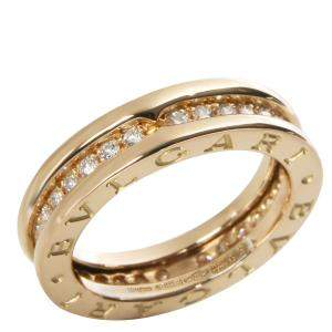 Bvlgari 18K Yellow Gold B.zero1  0.45 CTW Diamonds Ring Size 50