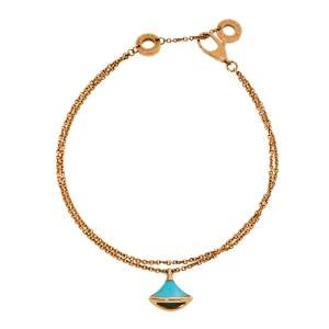 Bvlgari Divas' Dream Turquoise 18K Rose Gold Double Strand Bracelet SM