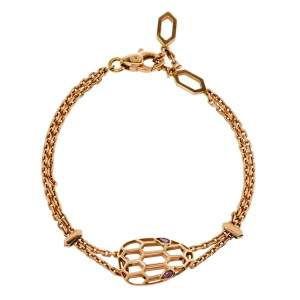 Bvlgari Serpenti Amethyst 18K Rose Gold Station Bracelet