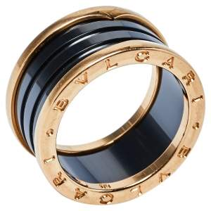 Bvlgari B.Zero1 Ceramic 18K Rose Gold Four-Band Ring Size 60