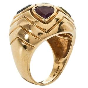 Bvlgari Diamond Multicolor Heart Shaped Gemstone 18K Yellow Gold Ring Size 52