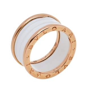 Bvlgari B.Zero1 White Ceramic 18K Rose Gold Four-Band Ring Size 60