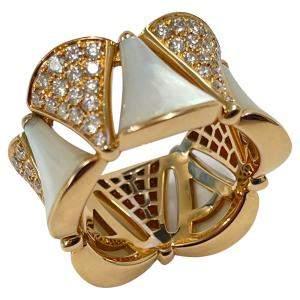 Bvlgari 18K Rose Gold Diamond & Mother of Pearl Ring Size EU 50