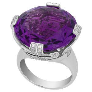 Bvlgari 18K White Gold Amethyst Parentesti Ring Size EU 52.5