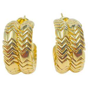 Bvlgari 18K Yellow Gold Spiga Hoop Earrings