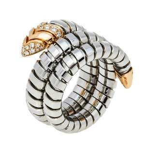 Bvlgari Serpenti Tubogas 18K Rose Gold Stainless Steel Double Spiral Ring Size 50.5