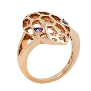 Bvlgari Serpenti Amethyst 18K Rose Gold Cocktail Ring Size 52.5