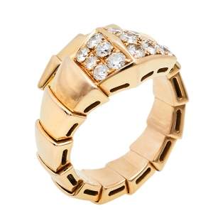 Bvlgari Serpenti Viper Diamond 18K Rose Gold One-Coil Ring Size 50