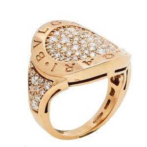 Bvlgari Bvlgari Pave Diamond 18K Rose Gold Ring Size 50.5