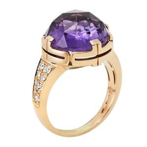 Bvlgari Parentesi Amethyst Diamond 18k Rose Gold Cocktail Ring Size 55