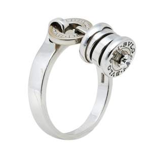 Bvlgari B.Zero1 Diamond 18k White Gold Charm Ring Size EU 54.5