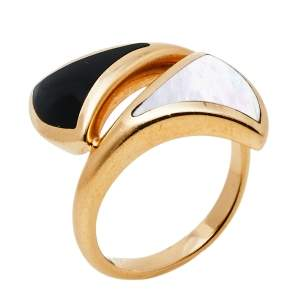Bvlgari Divas' Dream Mother of Pearl Onyx 18K Rose Gold Ring Size 50.5
