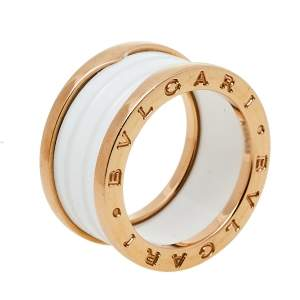 Bvlgari B.Zero1 White Ceramic 18k Rose Gold 4 Band Ring Size 55