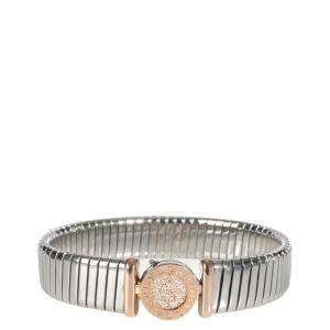 Bvlgari 18K Rose gold and stainless steel 0.15 CTW Diamond Tubogas Bracelet