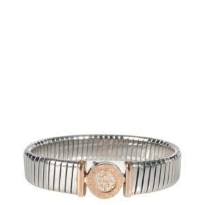 Bvlgari 18K Rose gold and stainless steel 0.15 CTW Diamond Tubogas Bracelet