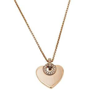 Bvlgari Cuore Diamond 18K Rose Gold Pendant Necklace