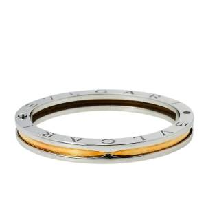 Bvlgari B.Zero1 Stainless Steel & 18K Rose Gold Oval Bangle Bracelet S