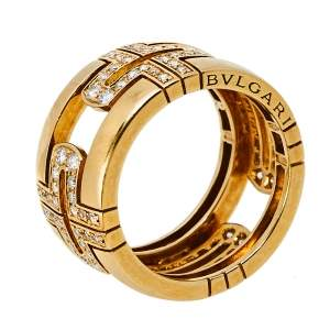 Bvlgari Parentesi Diamond 18K Yellow Gold Wide Band Ring Size 52