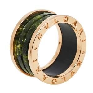 Bvlgari B.Zero1 Green Marble 18K Rose Gold Ring Size 56