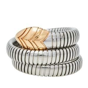 Bvlgari Serpenti Tubogas Stainless Steel 18K Rose Gold Double Spiral Bracelet SM