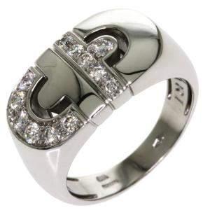 Bvlgari Parentesi 18K White Gold Diamond Ring Size EU 53