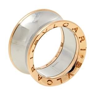 Bvlgari B.Zero1 Anish Kapoor 18K Rose Gold & Steel Band Ring Size 55