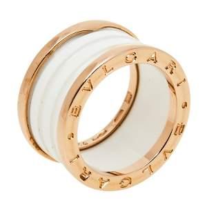 Bvlgari B.Zero1 White Ceramic 18K Rose Gold 4-Band Ring Size 54