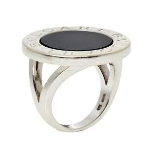 Bvlgari Onyx Inlay 18k White Gold Circular Ring Size 55