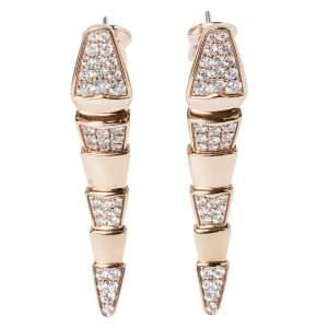 Bvlgari Serpenti Diamond 18K Rose Gold Long Earrings