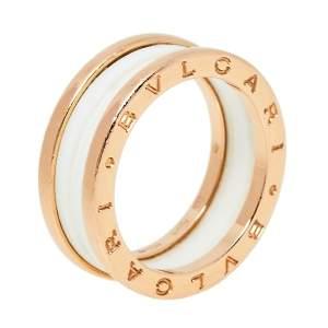 Bvlgari B.Zero1 Ceramic 18K Rose Gold Two Band Ring Size 58
