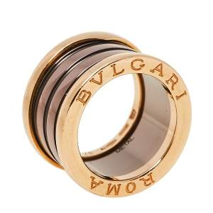 Bvlgari B.Zero1 Roma Bronze Ceramic 18K Rose Gold 4-Band Ring Size 48