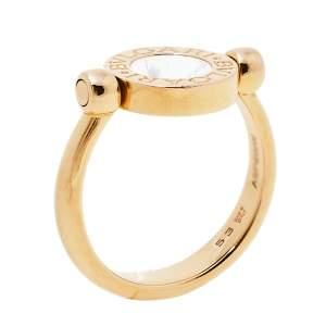 Bvlgari Bvlgari Mother of Pearl Onyx 18K Rose Gold Flip Ring Size 53