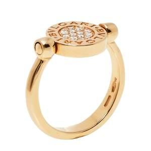Bvlgari Bvlgari Pave Diamond Jade 18K Rose Gold Flip Ring Size 53