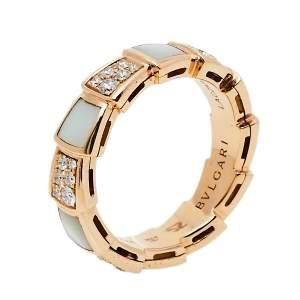 Bvlgari Serpenti Viper Mother of Pearl Diamond 18K Rose Gold Band Ring Size 52