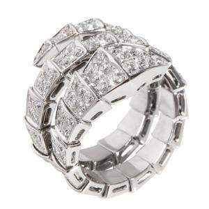 Bvlgari Serpenti Viper 18K White Gold Diamond Ring Size EU 53