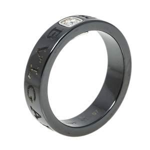 Bvlgari Diamond Black Ceramic 18K White Gold Band Ring Size 57