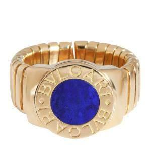 Bulgari 18K Yellow Gold Tubogas Lapis Lazuli Ring Size EU 51