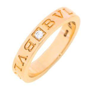 Bvlgari Bvlgari 18K Yellow Gold Diamond Narrow Band Ring Size EU 56