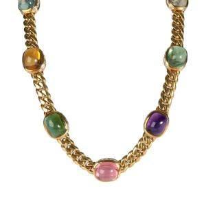 Bvlgari Seven Station Mixed Cabochon Gemstone 18K Yellow Gold Necklace
