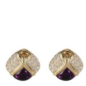 Bvlgari Amethyst Diamond 18K Yellow Gold Earrings
