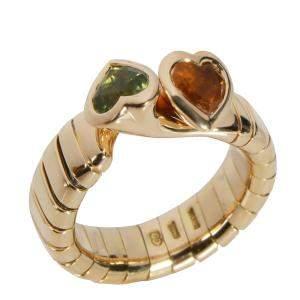 Bvlgari Tubogas Bypass Heart 18K Yellow Gold Ring Size EU 50
