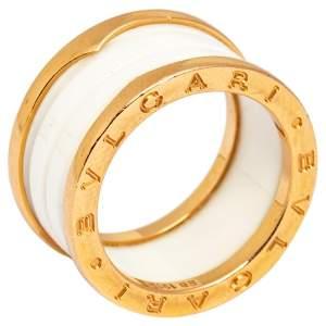 خاتم بلغاري بي زيرو 1 سيراميك أبيض وذهب وردي عيار 18 قيراط حلقتين مقاس 56