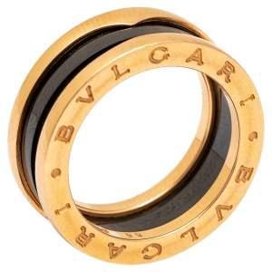Bvlgari B.Zero1 Black Ceramic 18k Rose Gold Narrow Band Ring Size 55