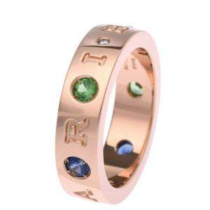 Bvlgari Roman Sorbet 18K Rose Gold Sapphire, Tsavorite Garnet and Diamond Ring EU 50